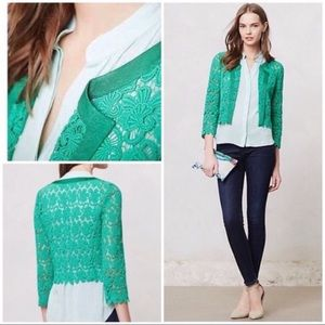 Anthropologie Elevenses Floral Lace Cardigan